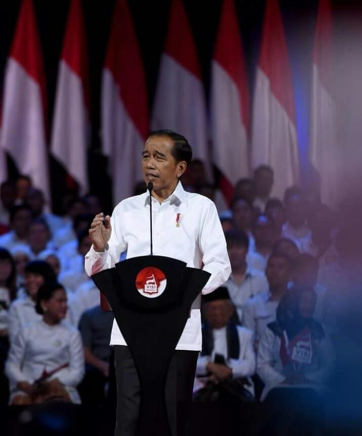 Presiden Joko Widodo pidato kebangsaan di Sentul International Convention Center (SICC) Sentul, Bogor, Minggu (14/07).