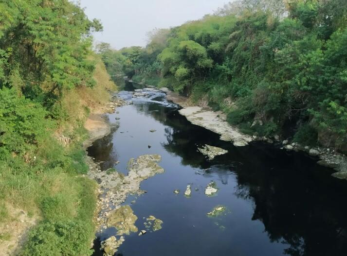 Kondisi sungai Cileungsi yang tercemar.