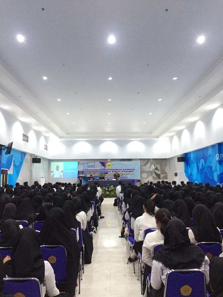 Para peserta PKKMB FKIP 2019 di Aula Gedung FKIP Lt.4, Universitas Pakuan, Jum'at(6/9/19).