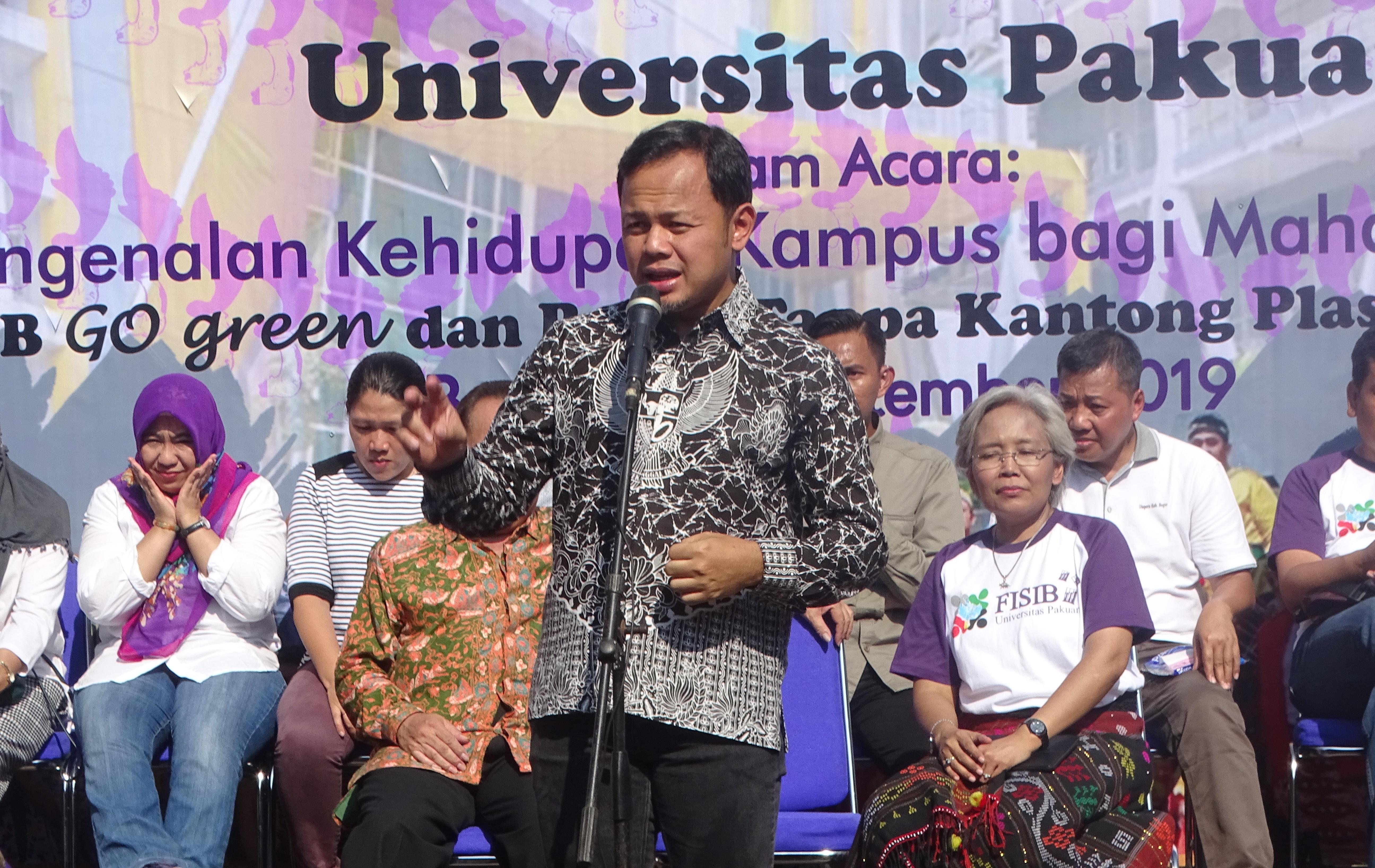 Walikota Bogor Bima Arya Sugiarto saat kegiatan PKKMB Fisib Universitas Pakuan 2019, Jum'at (6/9/19).