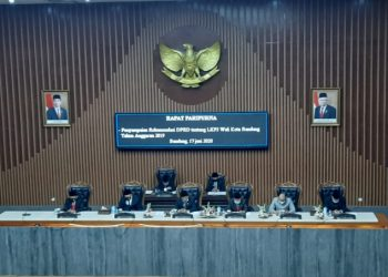 Rapat Paripurna tentang Laporan Keterangan Pertanggungjawaban (RKPJ) Wali Kota Bandung Akhir Tahun Anggaran 2019 di Gedung DPRD Kota Bandung, Rabu (17/6/2020).