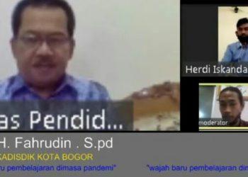 Kadisdik Kota Bogor Fahrudin di acara webinar pendidikan.