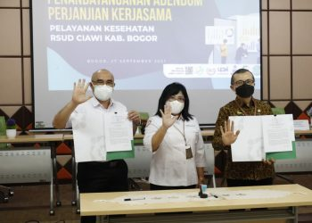 penandatanganan addendum PKS antara Direktur Utama RSUD Ciawi M. Tsani Musyafa dan Kepala BPJS Kesehatan Cabang Cibinong Ondrio Nas terselenggara di RSUD Ciawi.